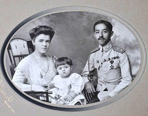 Prince Chakrabongse, Princess Ekaterina Desnitskaya and their son Chakrabongse Bhuvanath, Jr