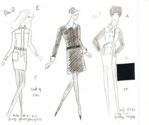 """The sketches of Yves Saint-Laurent of the dress from the movie """"Belle de jour"""""""