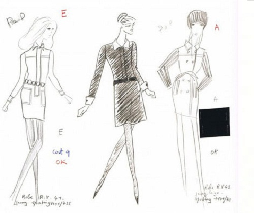 "The sketches of Yves Saint-Laurent of the dress from the movie ""Belle de jour"""