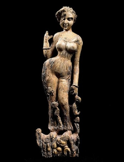 A woman, ivory Figurine, maybe decoration of furniture. Bagram, 1-2nd century AD.