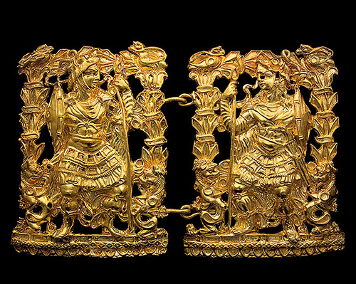 Gold Buckle, which shows 2 Greek Warriors. Found in the burial ground No. 3 tillya-Tepe, age 1 century BC