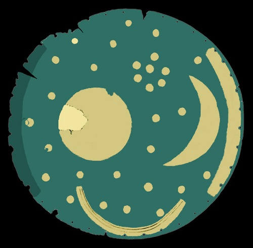 Diagram of the disk in its current condition (a star and a part of the sun, or full moon were restored)