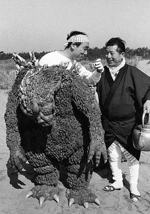 Famous Japanese actor Haruo Nakajima relaxing between shooting in the Godzilla film. Haruo Nakajima considered to be the best suit actor in the long history of the franchise. Born January 1, 1929 in Yamagata Prefecture, Japan