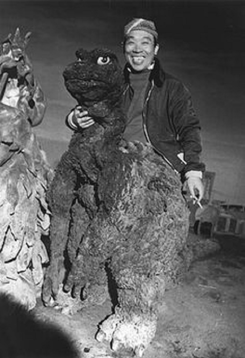 Japanese actor Haruo Nakajima relaxing between shooting in the Godzilla film