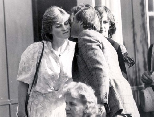 Diana Spencer and Adam Russell in Not to be published photo. Lady Diana Spencer receiving a kiss from a friend at a polo match before her marriage to Prince Charles