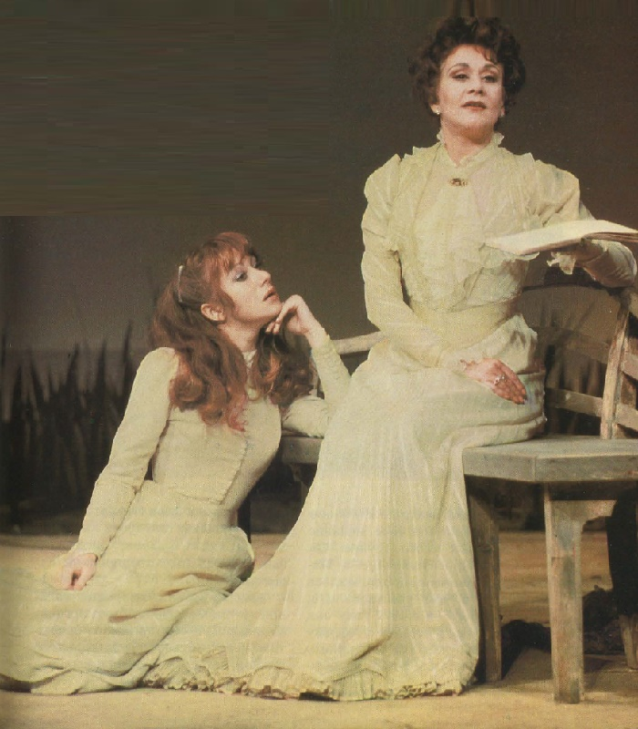 (Left) Helen Mirren and Joan Plowright in Chekhov's play The Seagull. Magazine Anglia, 2-1981