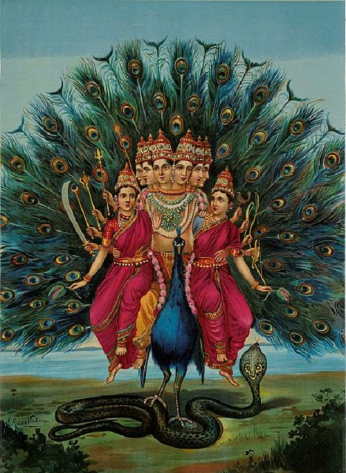Lord Karthikeya with his wives in his peacock mount