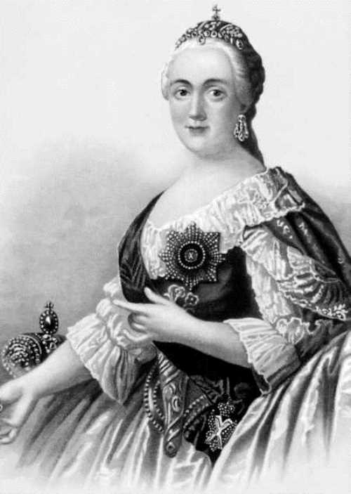 Portrait of Catherine II , lithography