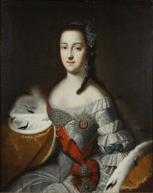 Portrait of Great Duchess Catherine Alexeevna (future Catherine the Great) in her first year in marriage in Russia. Gatchina Palace's Gallery