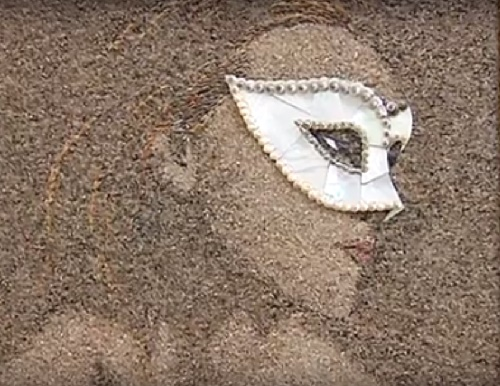 Portrait of woman in Venetian mask. Sand and seashells mosaic art by Svetlana Ivanchenko