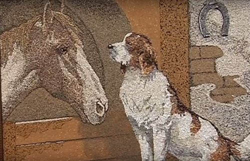 A dog and a horse. Seashells and sand painting by Svetlana Ivanchenko