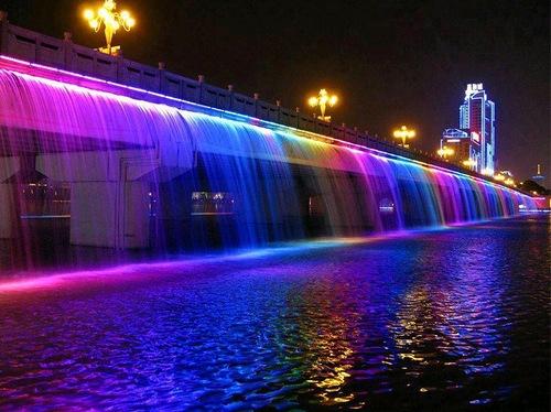 Beautiful Moon Rainbow jet fountain bridge in Seoul