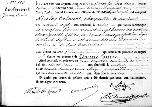 birth certificate of Jeanne Calment