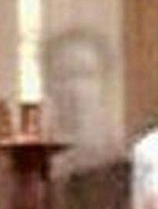 The ghost image in The Church of St Martin in Canterbury, England