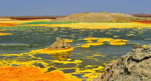 Dallol, volcanic explosion crater (or maar) in the Danakil Depression, Ethiopia