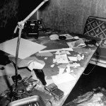 Burned and scattered papers on desk inside Adolf Hitler's command bunker where he and his mistress Eva Braun were said to have committed suicide