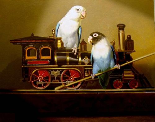 Birds love steam engine. Painting by Kamil Bekshev, Kazakhstan