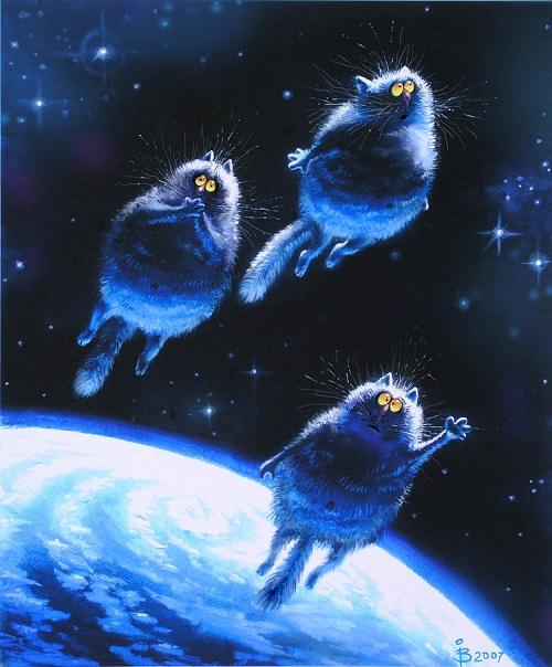 Blue cats by Belarusian artist Rina Z.