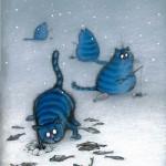 Blue cats painting by Rina Zenyuk