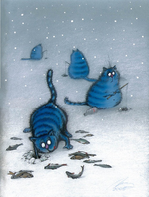 Blue cats painting by Rina Zenyuk