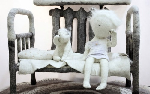Morning. Felted composition by Russian artist Irina Andreeva