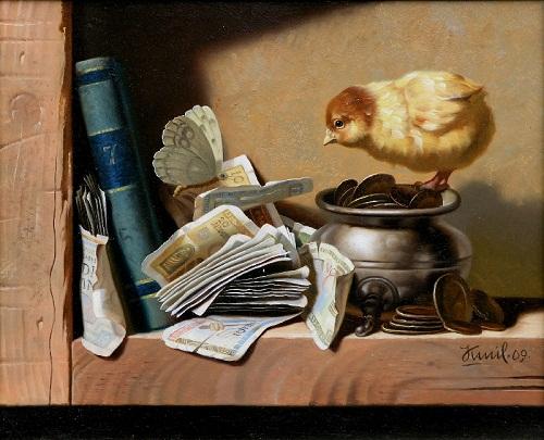 It is my money. Painting by Kamil Bekshev, Kazakhstan