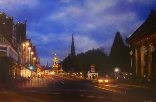 Night city paintings by Lesley Anne Derks