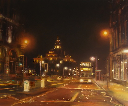Night city paintings by Lesley Anne Derks