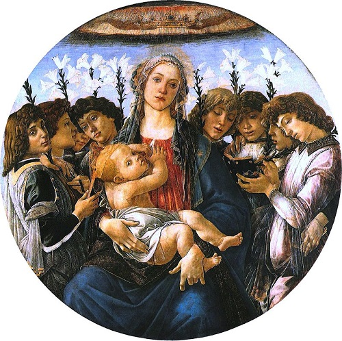 Madonna with lilies and eight angels, c. 1478