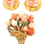 Pair of Gold and Carved Angel Skin Coral Flower
