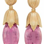 Pair of Gold and Pink Tourmaline Pendant Earclips