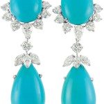 Pair of Platinum White Gold Turquoise and Diamond