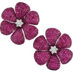Pair of White Gold Invisibly Set Ruby and Diamond