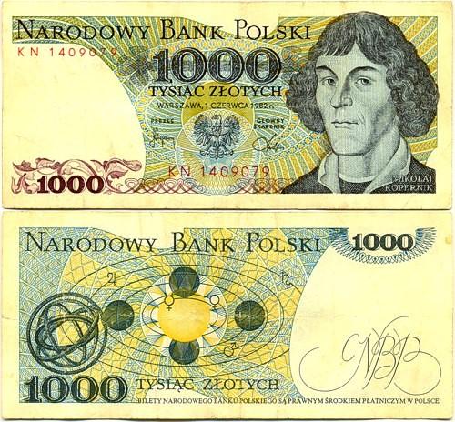 Poland, Copernicus, Denomination 1000 PLN 1982
