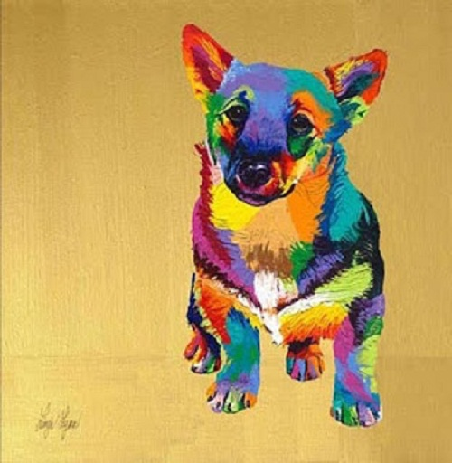 George. Rainbow Paintings by English artist Linzi Lynn