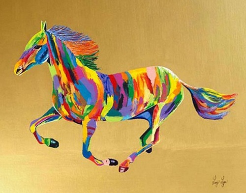 Wild Princess. Rainbow Paintings by English artist Linzi Lynn