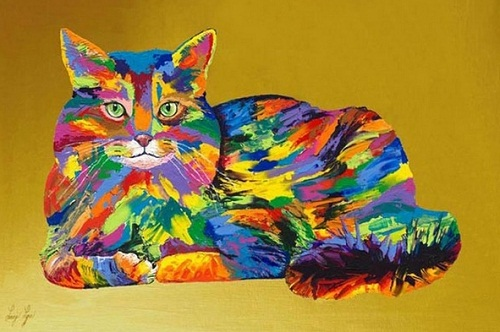 rainbow cat. Rainbow Paintings by English artist Linzi Lynn