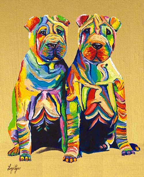 Pups. Rainbow Paintings by English artist Linzi Lynn