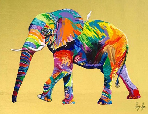 Elephant. Rainbow Paintings by English artist Linzi Lynn