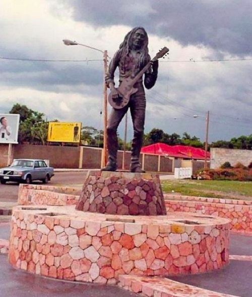 "Statue of Jamaican singer-songwriter and musician Bob Marley (6 February 1945 – 11 May 1981), Kingston. Nesta Robert ""Bob"" Marley was the rhythm guitarist and lead singer"