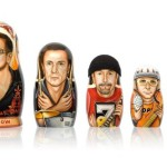 Painted on Matryoshkas portraits of musicians by Russian artist Yuri Gromov