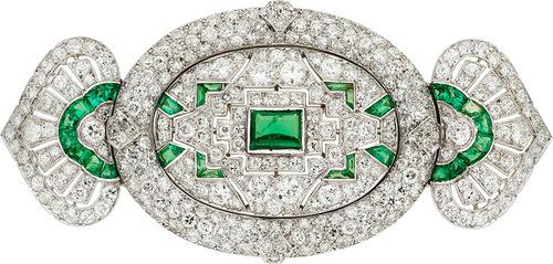 Art Deco Diamond, Emerald, Platinum Brooch, Lacloche Freres