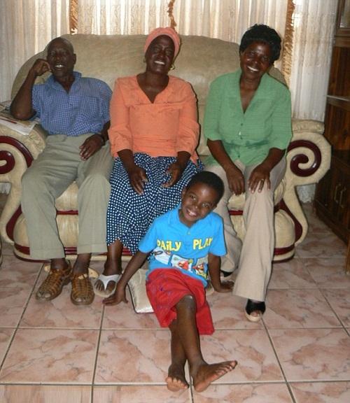 Alfred Shabangu - Helen's first husband (left) Helen Shabangu, Sanele Masilela (on the floor) and Sanele's mother Patient Masilela (right)