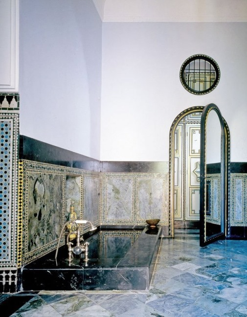 Yves Saint Laurent's palace in Morocco. Blue color of interior