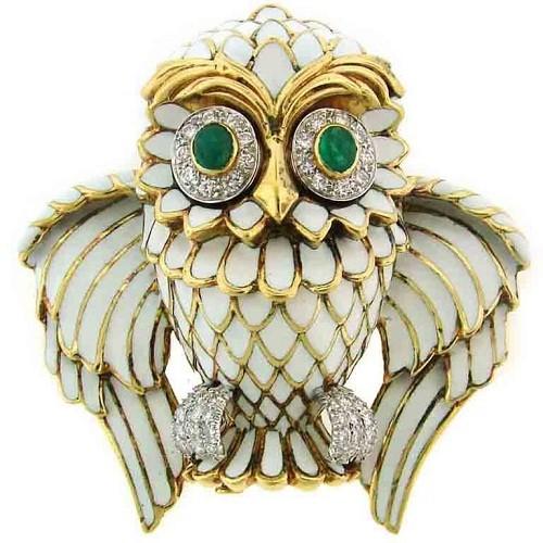 D. Webb Diamond, Emerald, Enamel & Yellow Gold Owl Pin/Pendant. USA. Circa 1970's. $12,500