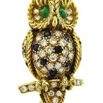 "French ""Wise Owl"" Gem Set Brooch Clip. France, 1960s"