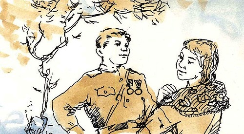Illustration to the poem 'Vasily Terkin', from the miniature book of poems of Russian poet Alexander Tvardovsky
