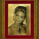 just a gold portrait of a beautiful girl