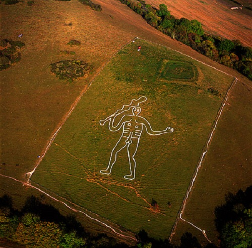 The Cerne Abbas Giant is a hill figure near the village of Cerne Abbas in Dorset, England
