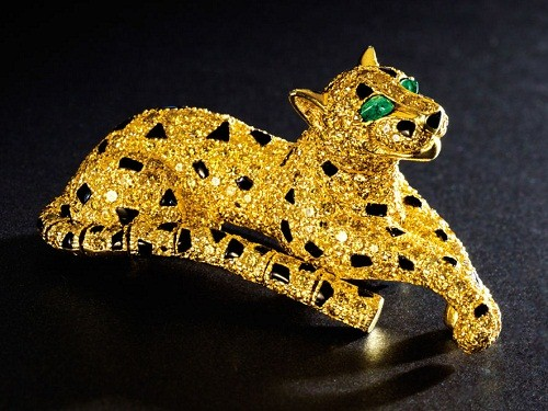 Yellow Diamond Leopard Brooch, European, Contemporary